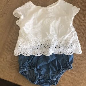 Other - White eyelet and chambray one piece